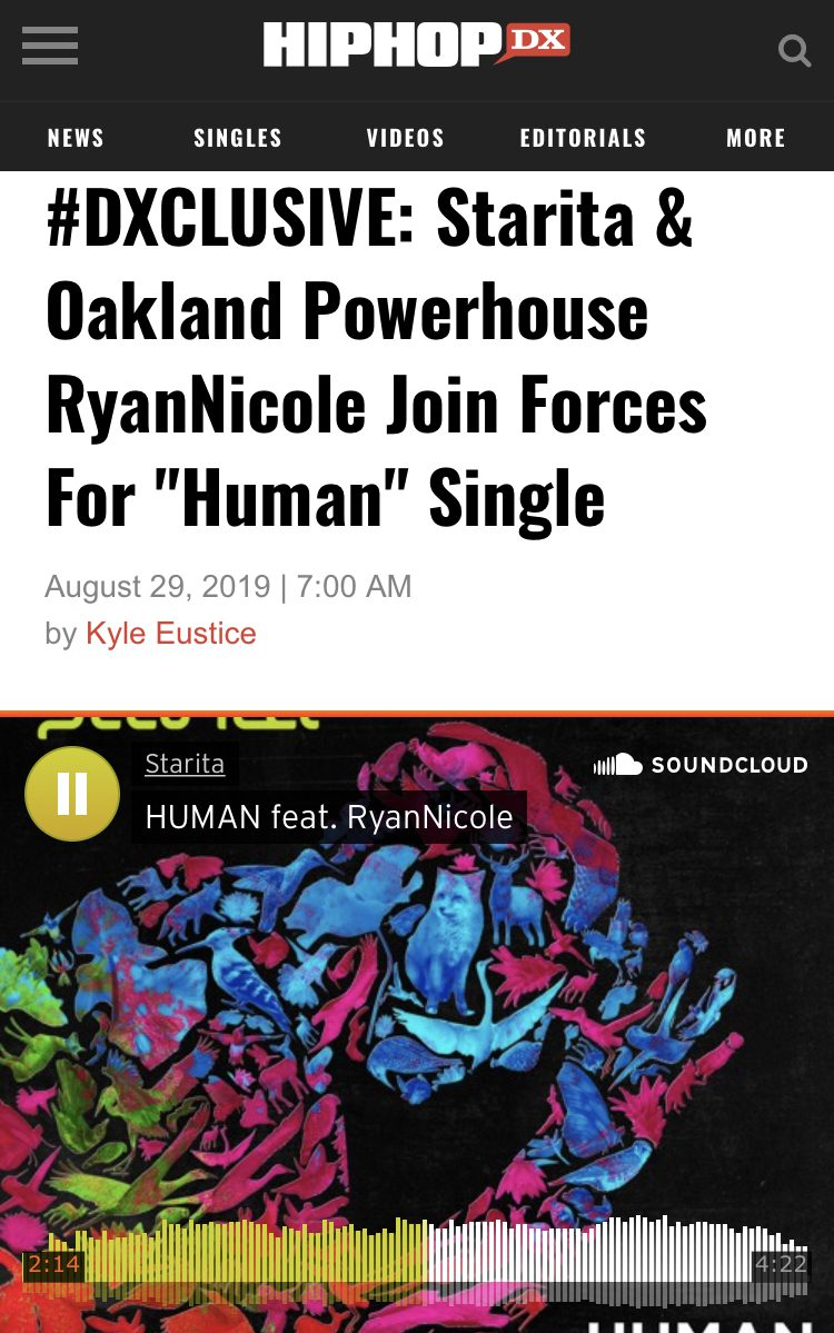 "#DXCLUSIVE: Starita & Oakland Powerhouse RyanNicole Join Forces For ""Human"" Single"
